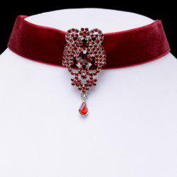 Fake Crystal Water Drop Velvet Necklace