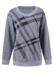 Plus Size Pullover Plaid Sweatshirt - GRAY