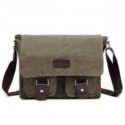 Flapped Canvas Messenger Bag - KHAKI