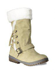 Buckle Strap Mid Calf Boots - YELLOW 39