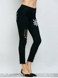 Flag Print Zipper Design Jeans