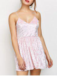 Velvet Criss Cross Backless Mini Dress - PINK XL