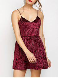 Velvet Criss Cross Backless Mini Dress - BURGUNDY