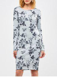 Floral Sheath Knee Length Dress