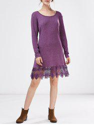 Long Sleeve Lace Trim A Line Dress