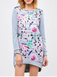 Letter Floral High Low Sweatshirt Dress