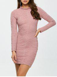 Long Sleeve Ruched Bandage Bodycon Dress - PINK L