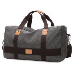 Double Pocket Zipper Canvas Tote Bag - GRAY
