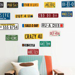 Retro Car Number Removable PVC Wall Stickers