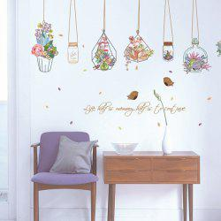 Hanging Flower Vase Removable PVC Wall Stickers - COLORFUL