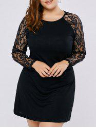 Raglan Sleeve Lace Insert Plus Size Dress