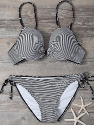 Striped Spaghetti Strap Bikini Set
