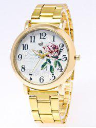 Flower Leaves Printed Stainless Steel Watch