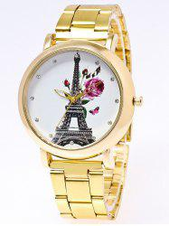 Flower Eiffel Tower Printed Stainless Steel Watch