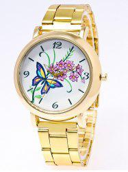 Flower Butterfly Printed Stainless Steel Watch