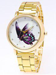 Rhinestone Butterfly Printed Stainless Steel Watch