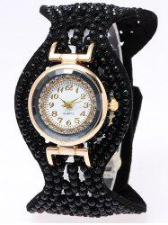 Rhinestone PU Leather Bracelet Watch