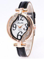 Rhinestone PU Leather Watch