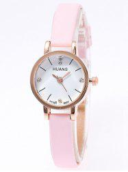 PU Leather Rhinestone Watch - PINK