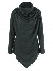 Cowl Neck Draped Longline T-Shirt