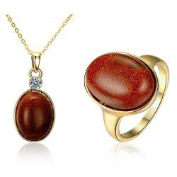 Artificial Gem Oval Necklace and Ring