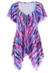 Asymmetrical Plus Size Tie-Dye T-Shirt - COLORMIX