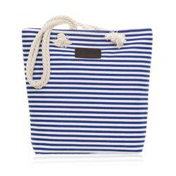 Canvas Striped Beach Bag - BLUE