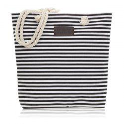 Canvas Striped Beach Bag - BLACK
