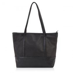Faux Leather Panel Shopper Bag