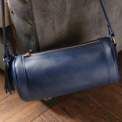 Faux Leather Cylinder Shaped Crossbody Bag