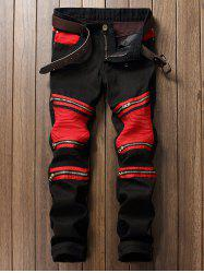 Color Block Zipper Biker Jeans - RED WITH BLACK