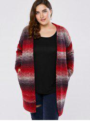 Plus Size Knitted Long Cardigan -