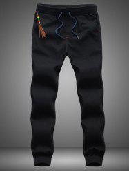 Beading Tassel Lace Up Beam Feet Jogger Pants - BLACK