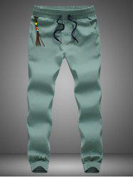 Beading Tassel Lace Up Beam Feet Jogger Pants - GREEN