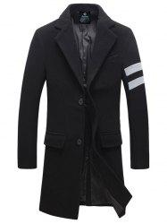 Turndown Collar Single Breasted Longline Woolen Blends Coat