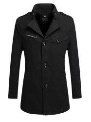 Turndown Collar Single Breasted Epaulet Design Wind Coat
