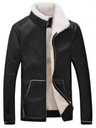 Stand Collar Flocking Faux Leather Jacket - BLACK 3XL