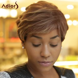 Adiors Short Fluffy Curly Side Bang Highlight Synthetic Wig -