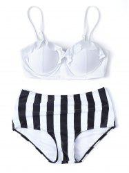 High Waisted Striped Push Up Bikini