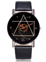Faux Leather Watchband Gear Watch - BLACK