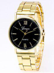 Stainless Steel Watchband Roman Numerals Watch -