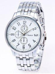 Stainless Steel Business Quartz Watch - SILVER WHITE