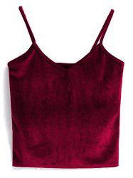Cami Cropped Velvet Tank Top - RED