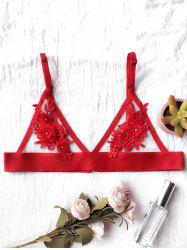 Transparent Wire Free Floral Mesh Bra - RED