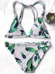 Leaf Print Low Rise Strappy Bikini