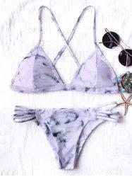 Tie Dyed String Bikini - GREY AND WHITE
