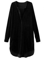 V Neck Long Sleeve Velvet Tunic Dress