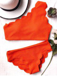 One Shoulder Scalloped Bikini Set - ORANGE RED