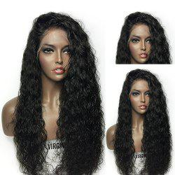 Towheaded Long Curly Synthetic Lace Front Wig - BLACK