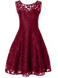 Lace Plus Size Vintage Party Midi Short Cocktail Dress - BURGUNDY